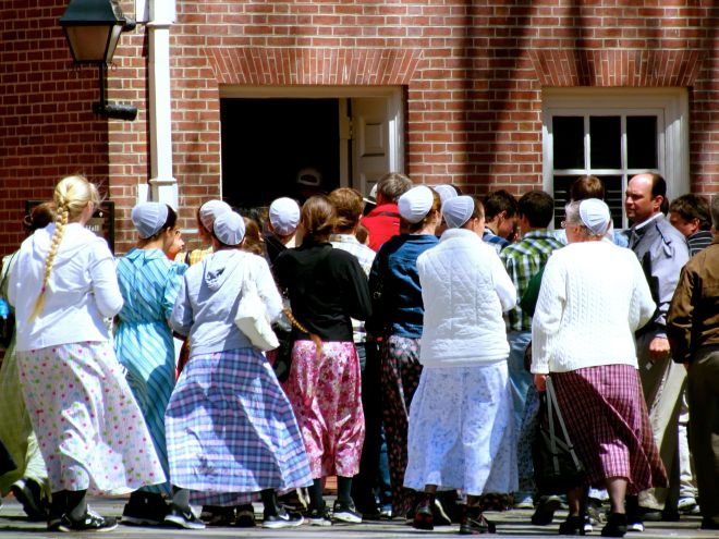 Orderly chaos: a group of Mennonites visit Independence Hall in Philadelphia.